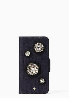 Kate Spade denim embellished folio iPhone 7/8 case