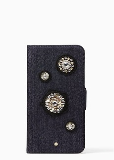 Kate Spade denim embellished folio iphone 7/8 plus case