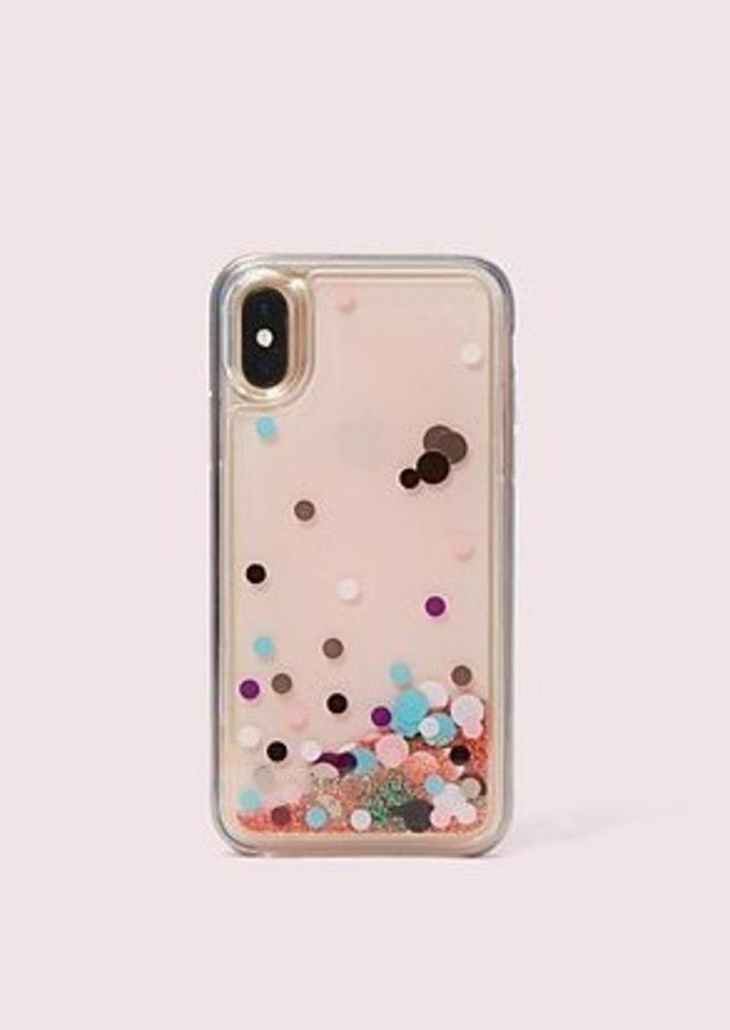 Kate Spade disco dots liquid glitter iphone x & xs case