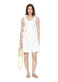 dot eyelet tie front dress