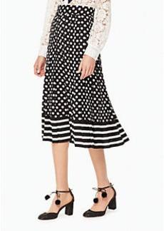 dot stripe pleated skirt
