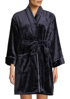 Kate Spade dotted stripe plush short robe