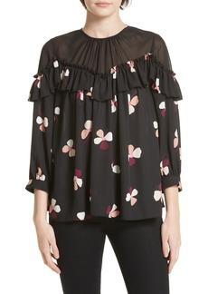 Kate Spade dusk buds ruffle blouse