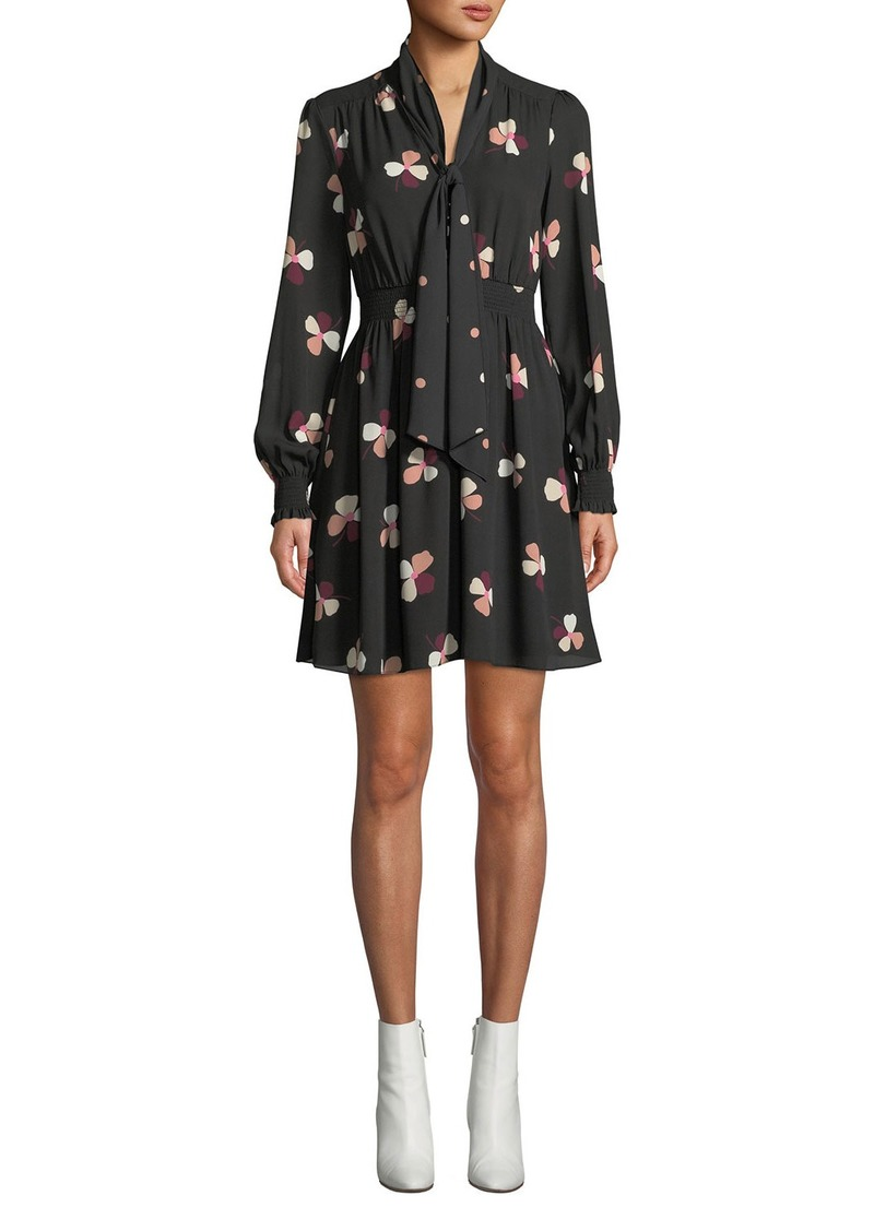 Kate Spade Dusk Buds Smocked Long-Sleeve Dress