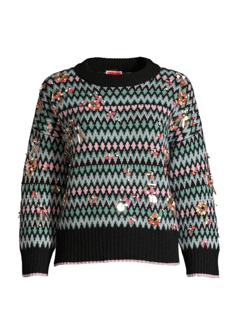 Kate Spade Embellished Fair Isle Sweater