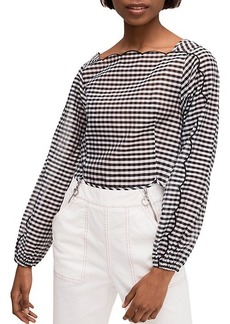 Kate Spade Embroidered Gingham Cotton & Silk Blouse