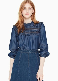 Kate Spade embroidered indigo top