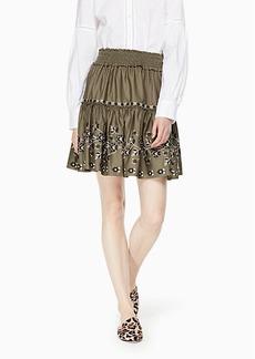 embroidered poplin skirt