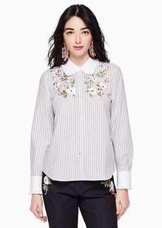 Kate Spade embroidered stripe ruffle top