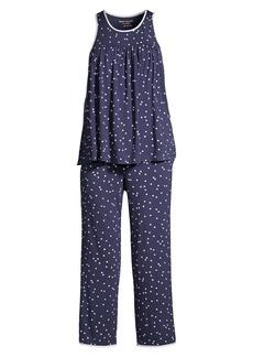 Kate Spade Evergreen Polka Dot 2-Piece Tank & Capris Pajama Set