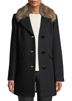 Kate Spade Faux-Fur Hooded Wool Coat