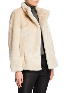 Kate Spade Faux-Fur Jacket with Polka-Dot Lining