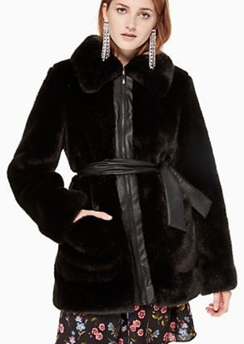 Kate Spade faux fur leather trim coat