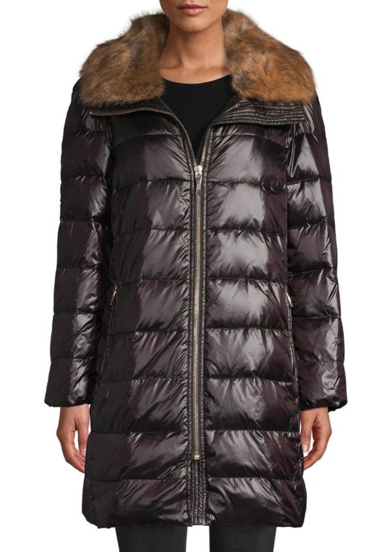Kate Spade Faux Fur-Trim Down Puffer Coat