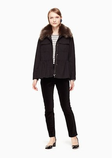 Kate Spade faux fur trim military jacket