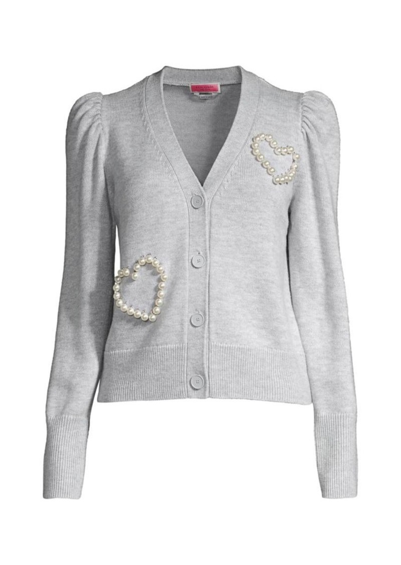 Kate Spade Faux Pearl Heart Knit Cardigan