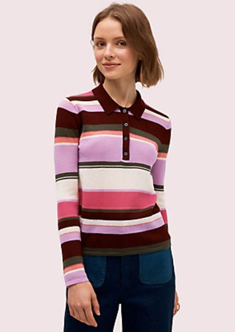Kate Spade fine stripe polo sweater
