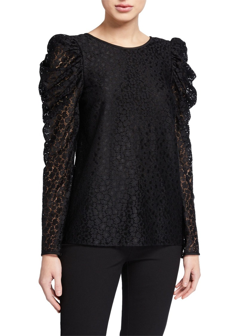 Kate Spade flora leopard lace long-sleeve blouse