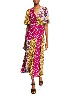 Kate Spade flora mix short-sleeve swing dress
