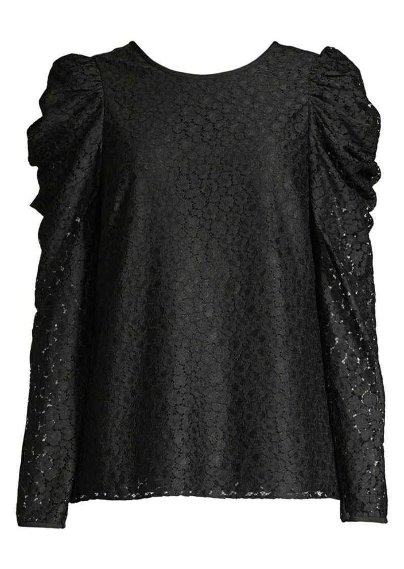 Kate Spade Flora Puff-Sleeve Lace Blouse