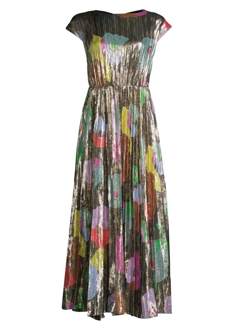 Kate Spade Floral Collage Silk-Blend Shimmer Dress