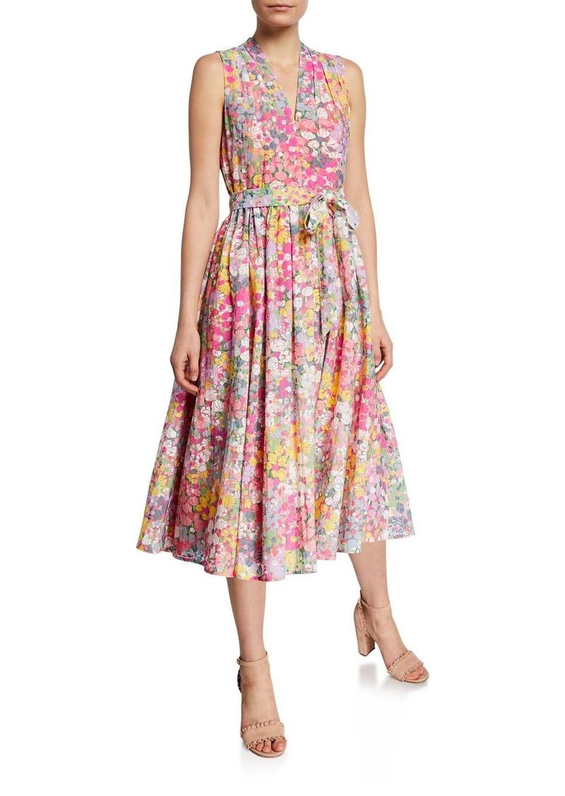 Kate Spade floral dots burnout sleeveless midi dress