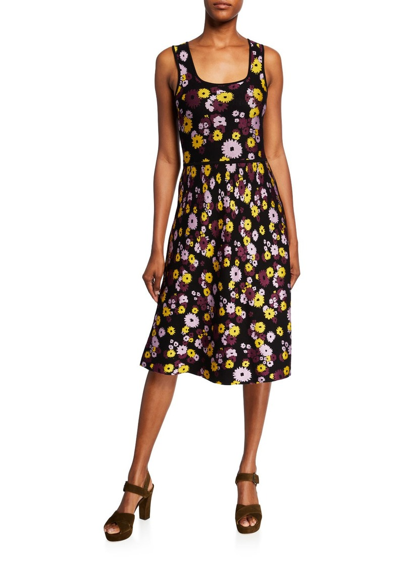 Kate Spade floral jacquard sleeveless sweater dress