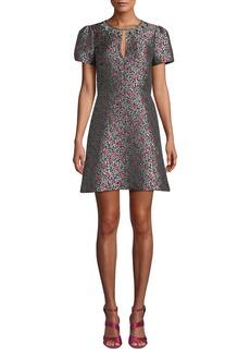 Kate Spade floral park jacquard short-sleeve dress