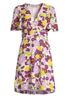 Kate Spade Floral Plissé A-Line Swing Dress