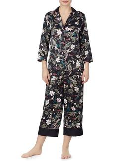 Kate Spade floral-print charmeuse cropped pajama set