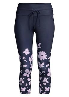 Kate Spade Floral Print Cropped Workout Leggings