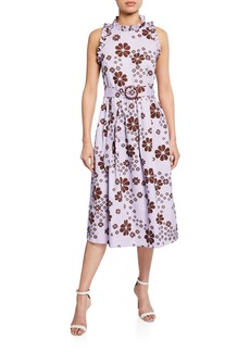 Kate Spade floral-print sleeveless belted midi racerback dress