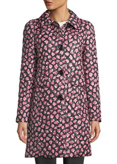 Kate Spade Floral Rose Quilted Trench Coat