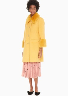 Kate Spade fluffy wool faux fur trim coat