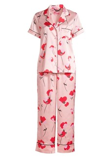 Kate Spade Fluttering Poppies Crop Two-Piece Pajama Set