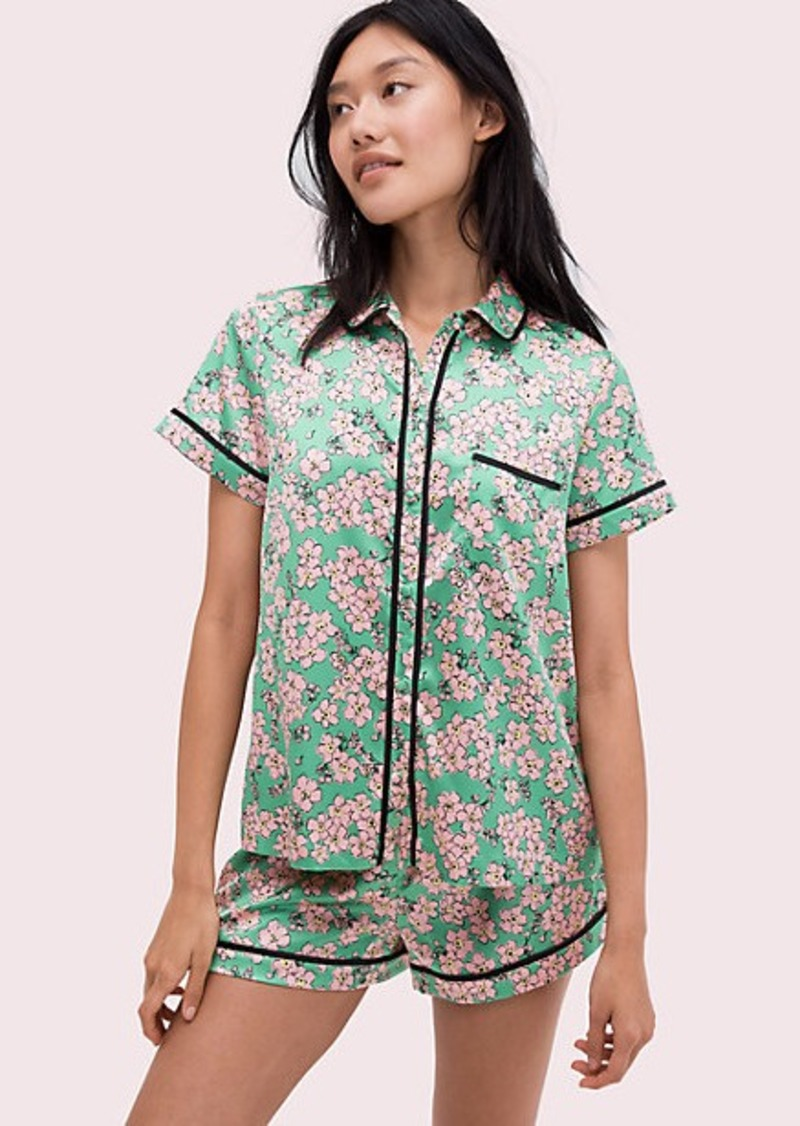 fresh flora green short pj set