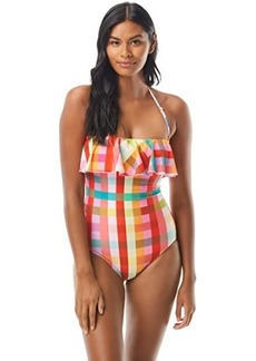 Kate Spade Garden Plaid Ruffle Bandeau One-Piece w/ Underwire and Removable Straps