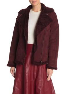 Kate Spade genuine shearling lined moto jacket