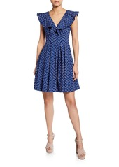 Kate Spade geo dot v-neck sleeveless poplin dress
