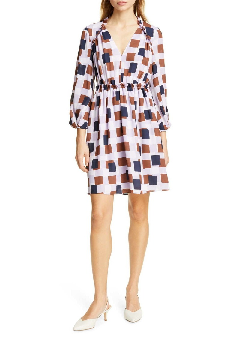 Kate Spade geo squares long sleeve dress