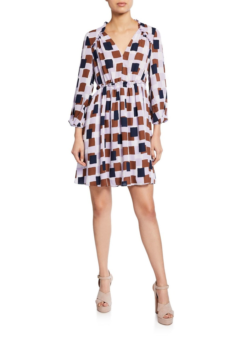 Kate Spade geo squares printed 3/4-sleeve mini dress