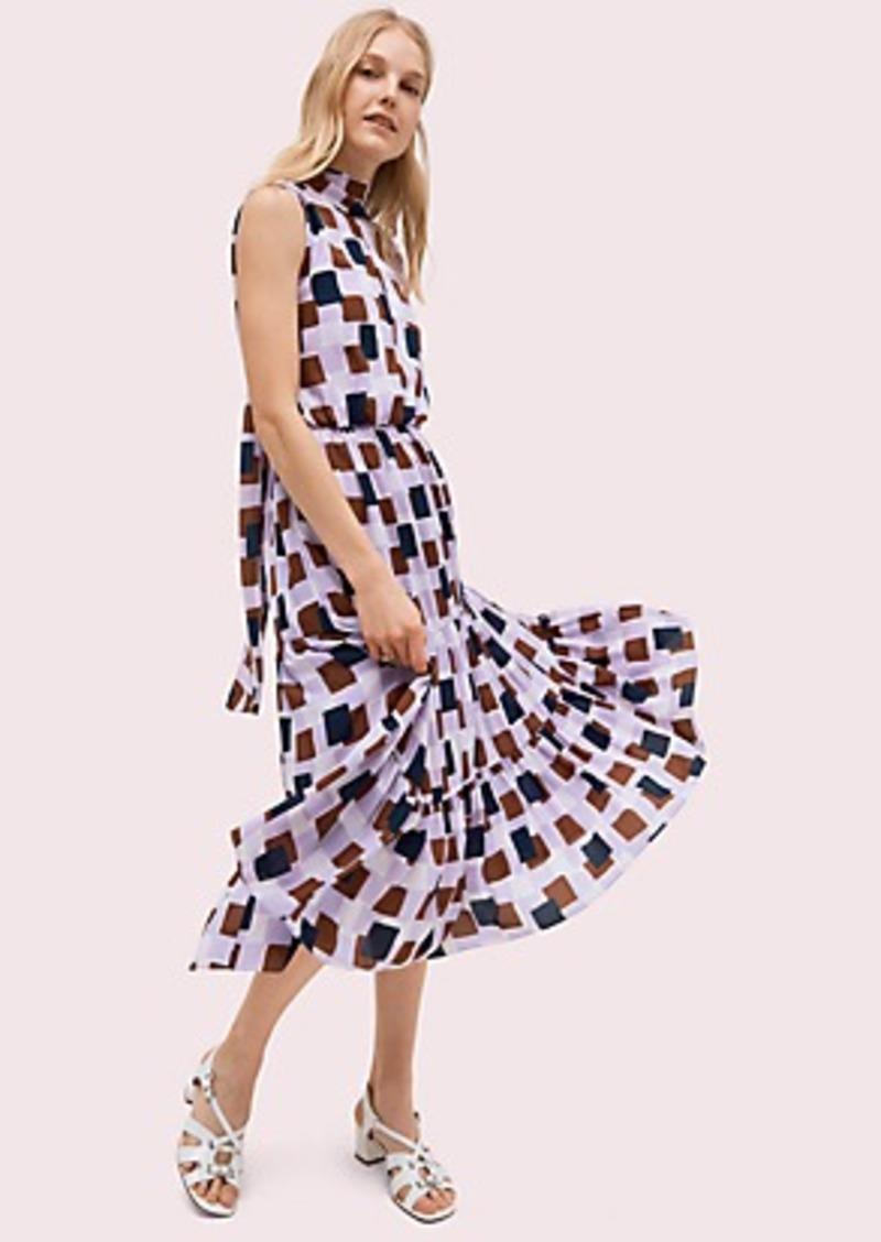Kate Spade geo squares tie-neck dress