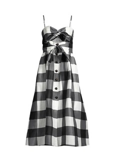 Kate Spade Gingham Tie-Front Midi Dress