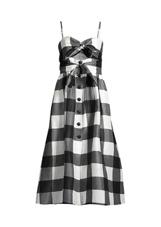 Kate Spade Gingham Tie-Front Midi Dress