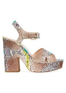 Kate Spade Grace Snakeskin-Embossed Leather Platform Sandals