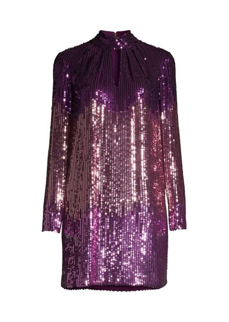 Kate Spade Gradient Long-Sleeve Sequin Mini Dress