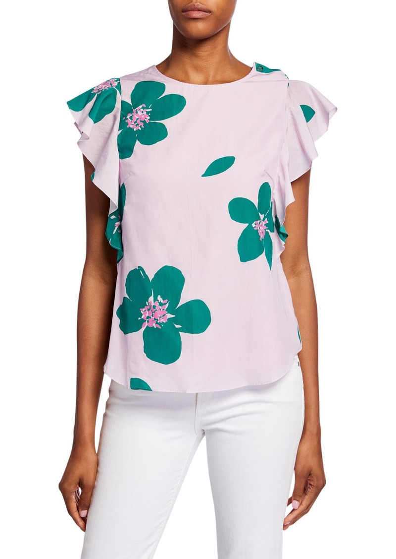 Kate Spade grand flora ruffle-sleeve open-back top
