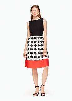 grid dot colorblock dress