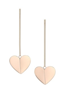 Kate Spade Heritage 12K Rose Goldplated Metal Heart Linear Earrings