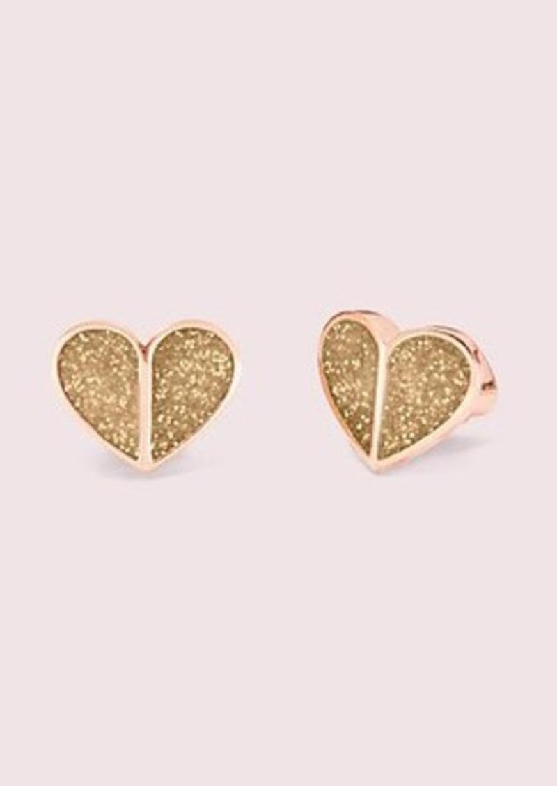 Kate Spade heritage spade glitter small heart studs